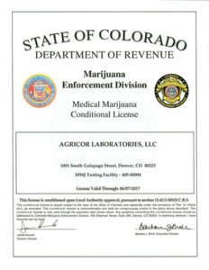 Agricor Labs Medical Testing License