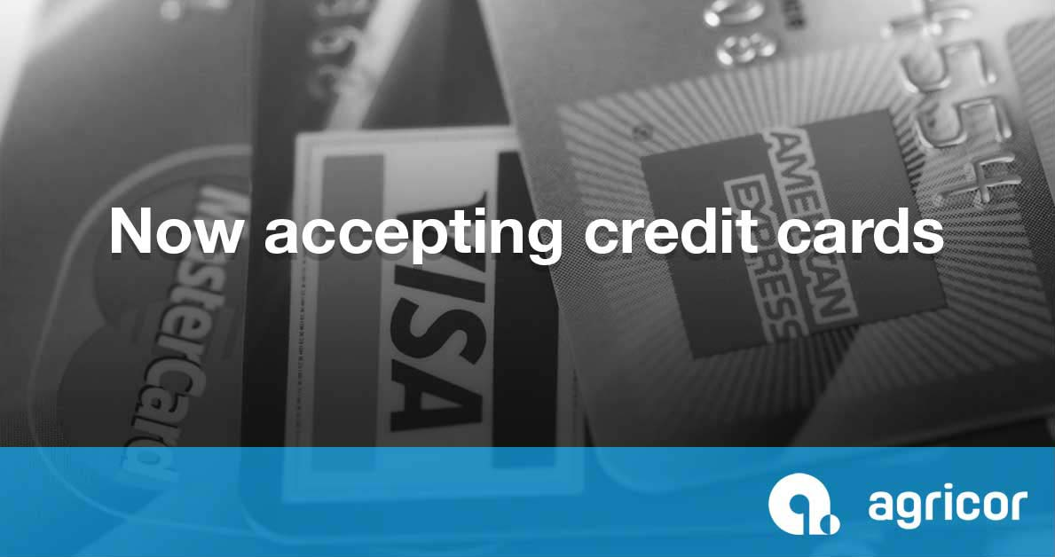Agricor now accepts credit cards